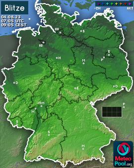 Blitzkarte f�r Deutschland, letzte 2 Stunden